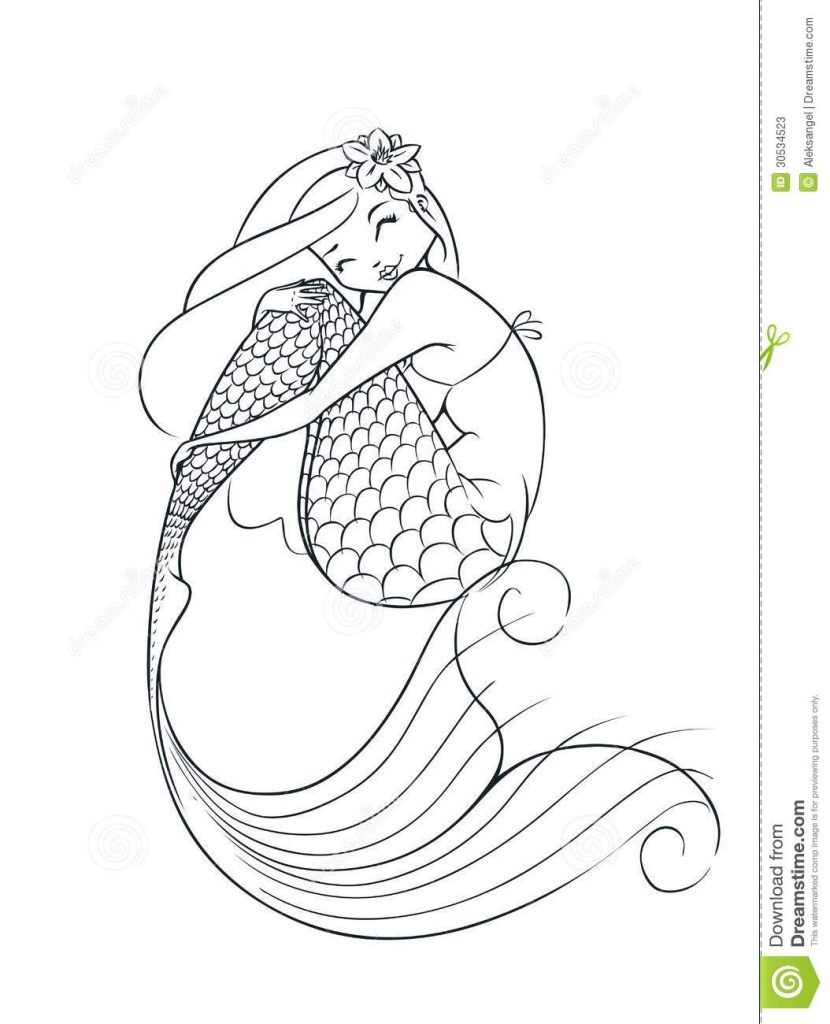 Mermaid tail outline clipart image royalty free library Mermaid Outline With Mermaid Tail Outline Clipart ~ Free Printable ... image royalty free library