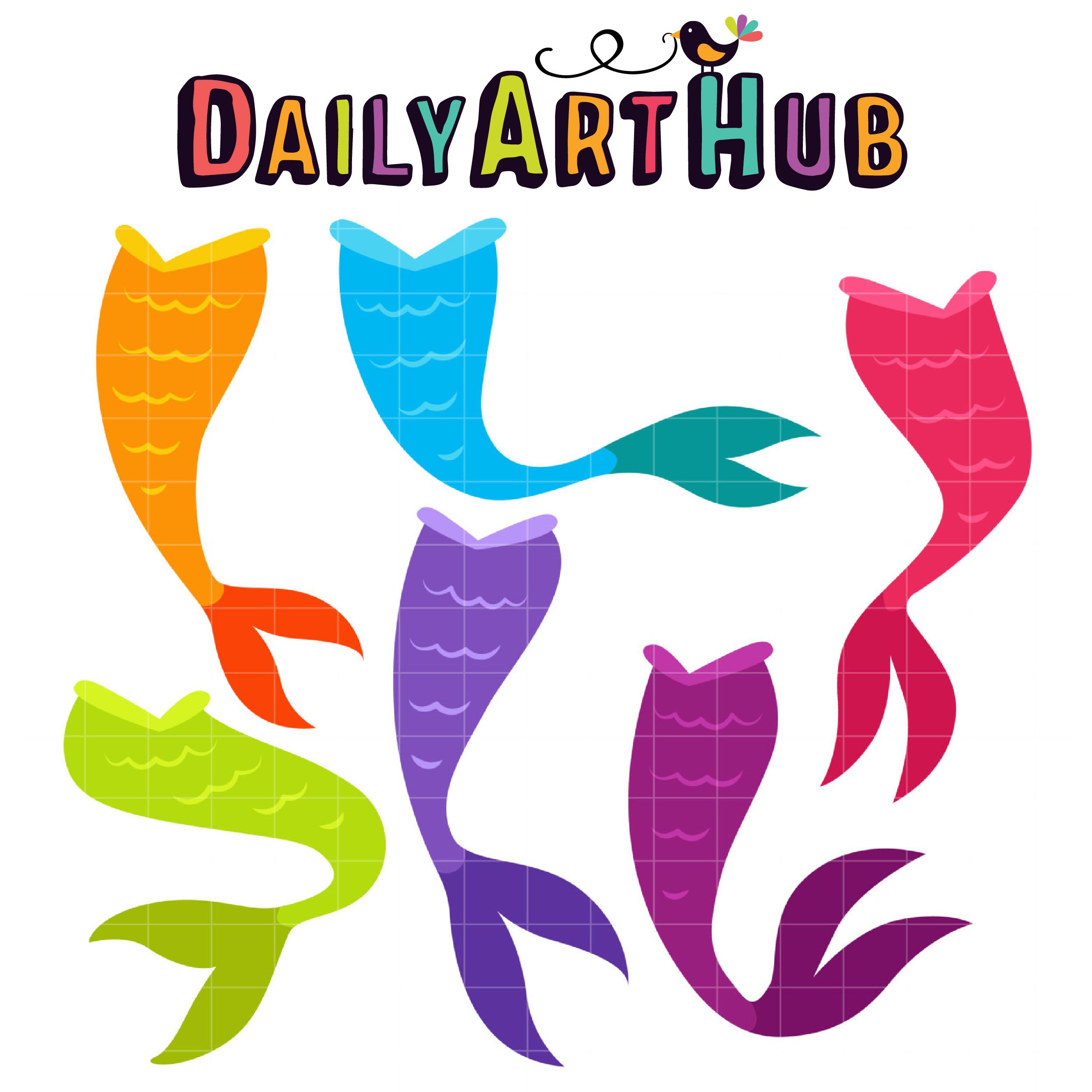 Mermaid tails clipart jpg free Mermaid Tails Clip Art Set jpg free