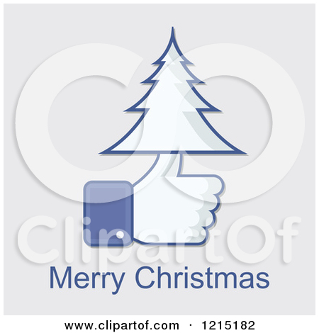 Merry christmas clip art for facebook clip black and white library Clipart of a Merry Christmas Greeting and Facebook Thumb up with a ... clip black and white library