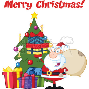 Merry christmas greetings clipart jpg library stock Royalty Free RF Clipart Illustration Merry Christmas Greeting With Santa  Claus Holding Up A Stack Of Gifts By A Christmas Tree clipart. Royalty-free  ... jpg library stock