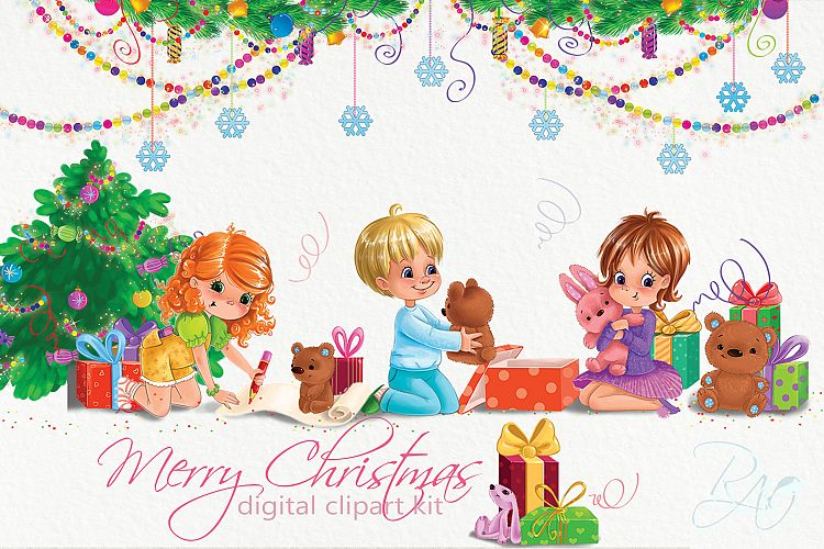 Merry christmas kids clipart picture transparent Christmas clipart set with cute kids picture transparent