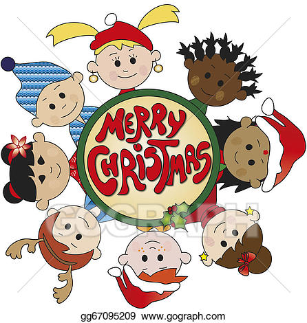 Merry christmas kids clipart image free Stock Illustrations - Children of christmas. Stock Clipart ... image free