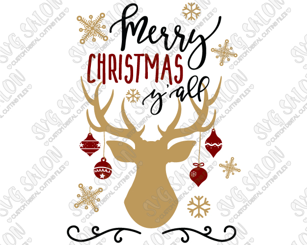 Merry christmas y all clipart clip art Merry Christmas Y\'all Antlers Cut File in SVG, EPS, DXF, JPEG, and PNG clip art