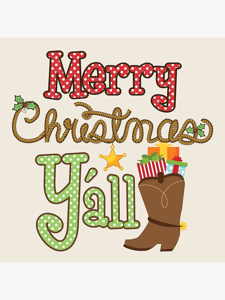 Merry christmas y all clipart svg transparent Merry Christmas Y'all Cowboy Boots | Poster svg transparent