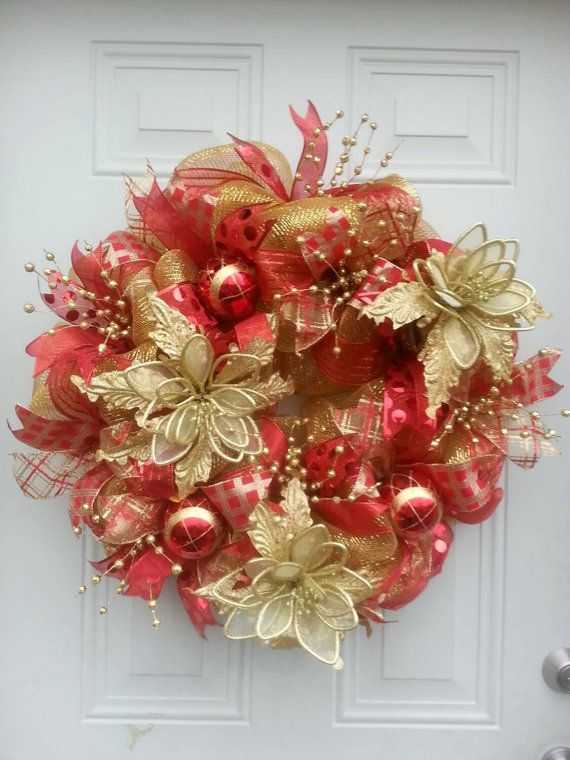 Mesh holiday wreath clipart vector transparent library Red and Gold deco mesh Christmas wreath Christmas ... vector transparent library