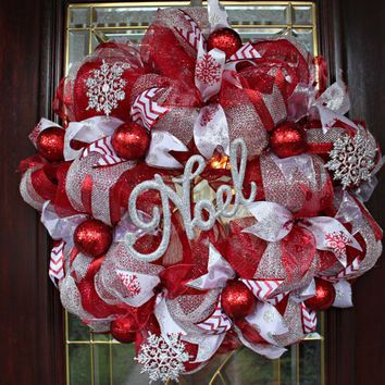 Mesh holiday wreath clipart picture transparent Deco Mesh Christmas Wreath, Red and Silver Deco Mesh ... picture transparent