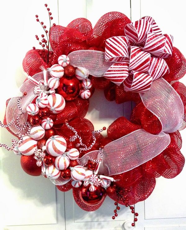 Mesh holiday wreath clipart picture free deco mesh christmas wreaths home decor red white christmas ... picture free