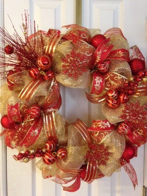 Mesh holiday wreath clipart banner transparent Christmas Red and Gold Deco Mesh Christmas Wreath on Etsy ... banner transparent
