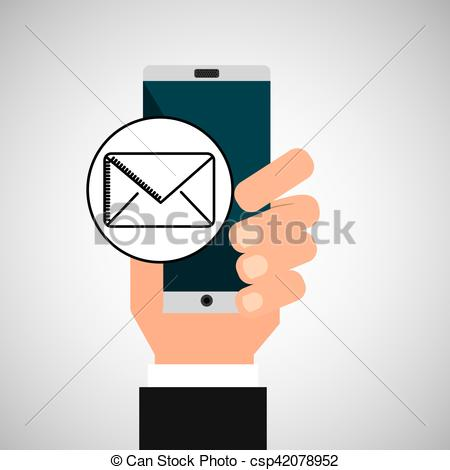 Message app clipart image Clipart Vector of hand phone email message app media vector ... image