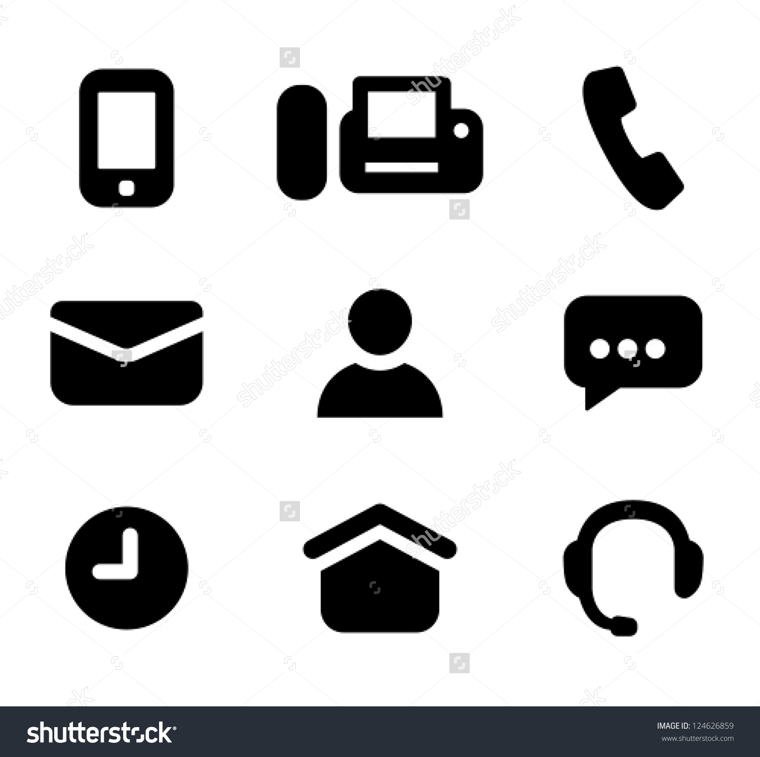 Messenger person clipart png library stock Contact Information Signs Mobile Phone Fax Stock Vector 124626859 ... png library stock