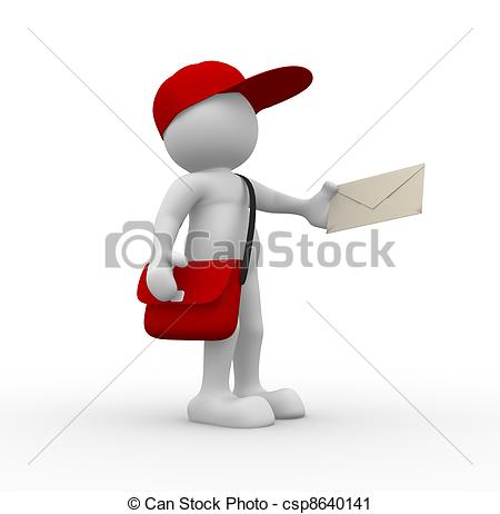 Messenger person clipart png transparent stock Clipart of Postman - 3d people - human character, person with cap ... png transparent stock