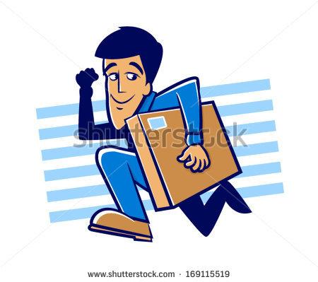 Messenger person clipart png transparent library Messenger Man Running Large Packagespeedy Delivery Stock Vector ... png transparent library