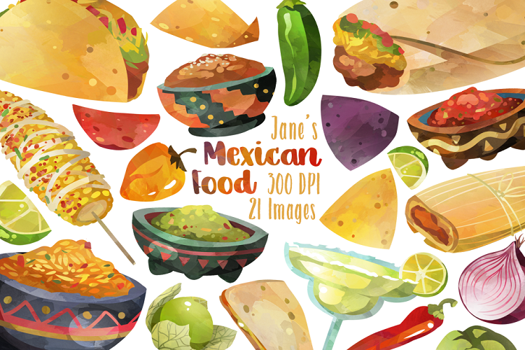 Mexican food cliparts svg freeuse Watercolor Mexican Food Clipart svg freeuse