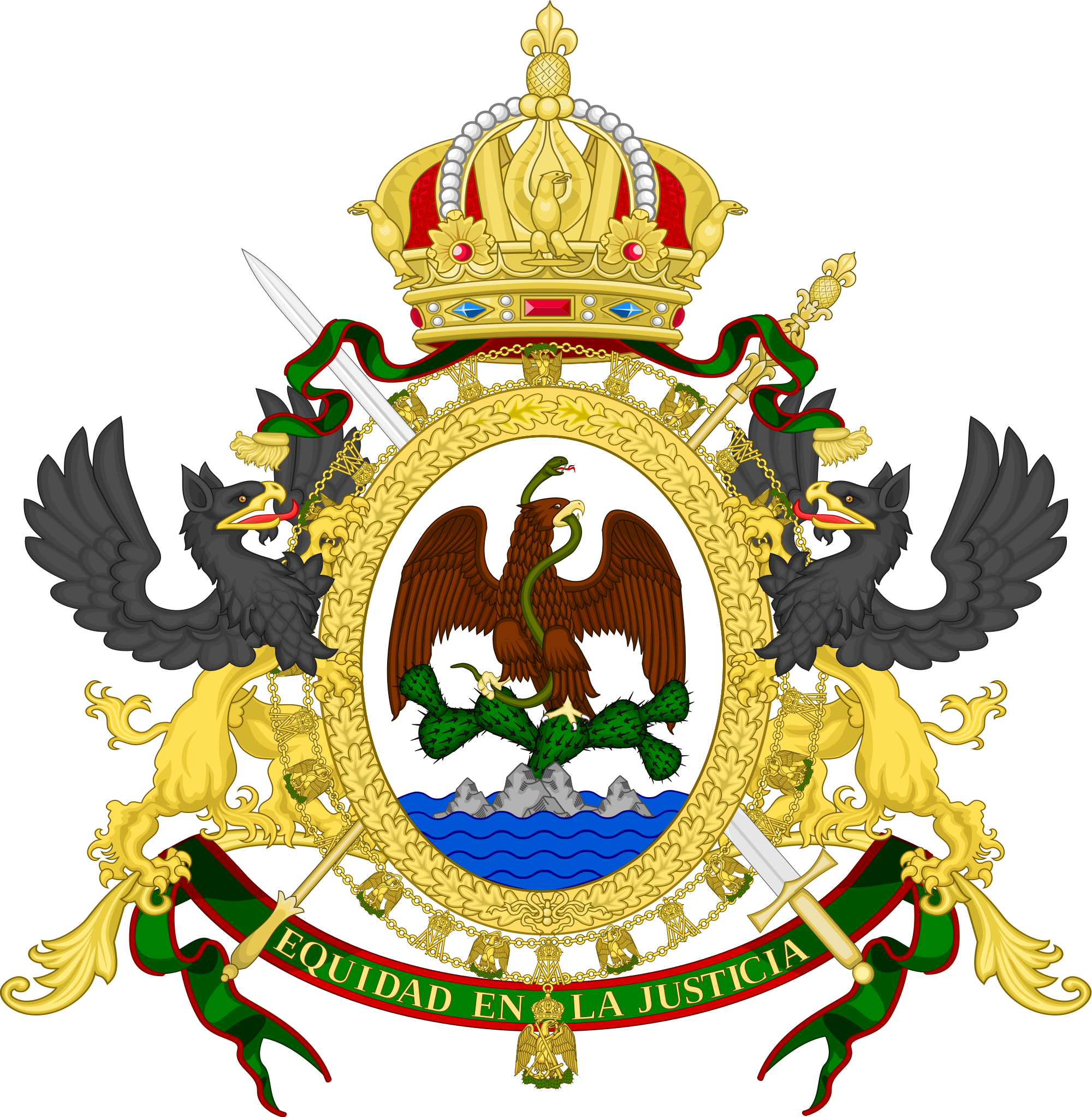 Mxcan house clipart clip library library The coat of Arms of the Mexican Empire 1864-1867. | Obsolete Flags ... clip library library