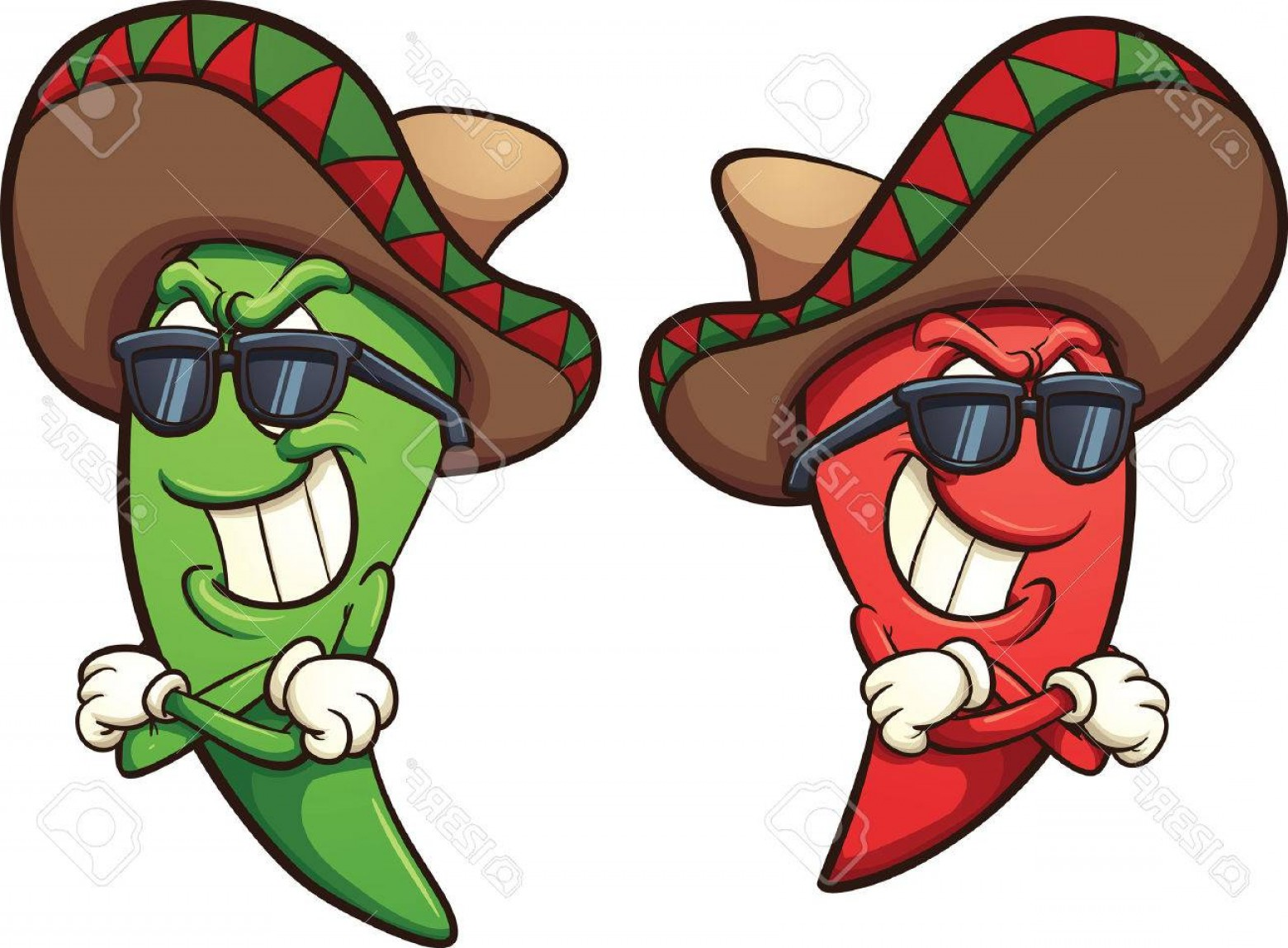 Mexican pepper clipart clip art library download Photostock Vector Mexican Red And Green Chili Peppers Vector ... clip art library download