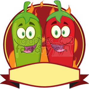 Mexican pepper clipart black and white library 6788 Royalty Free Clip Art Mexican Chili Peppers Cartoon Mascot Label  clipart. Royalty-free clipart # 389494 black and white library
