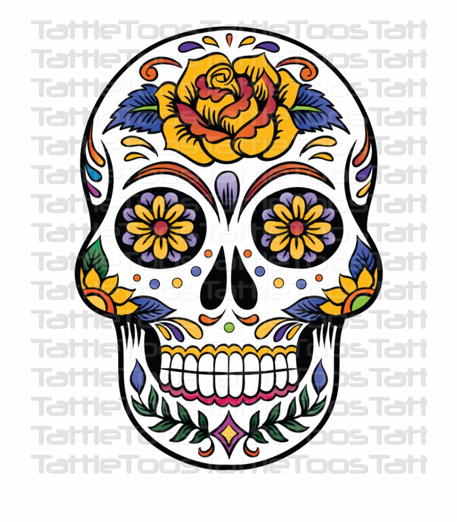 Mexican skull clipart black and white download Sugskull 4 Candy Skulls, Sugar Skulls, Mexican Skull - Rose ... black and white download