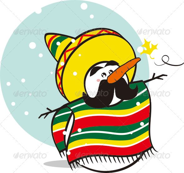 Mexican snowman clipart clip free Mexican Snowman #graphicriver | Christmas card paintings ... clip free