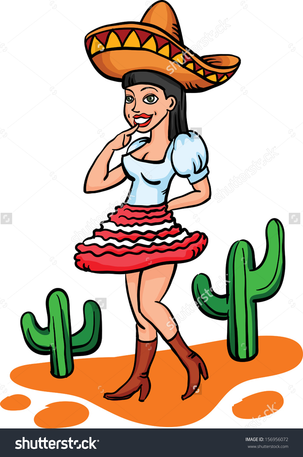 Mexican traditional dress clipart svg freeuse stock Vector Illustration Cartoon Mexican Girl Traditional Stock Vector ... svg freeuse stock