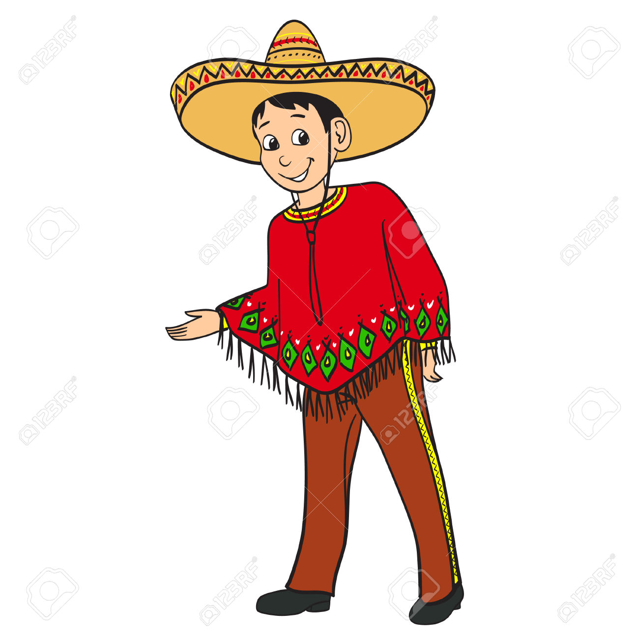 Mexican traditional dress clipart svg royalty free download Mexican Boy Dressed In A Traditional Suit Royalty Free Cliparts ... svg royalty free download