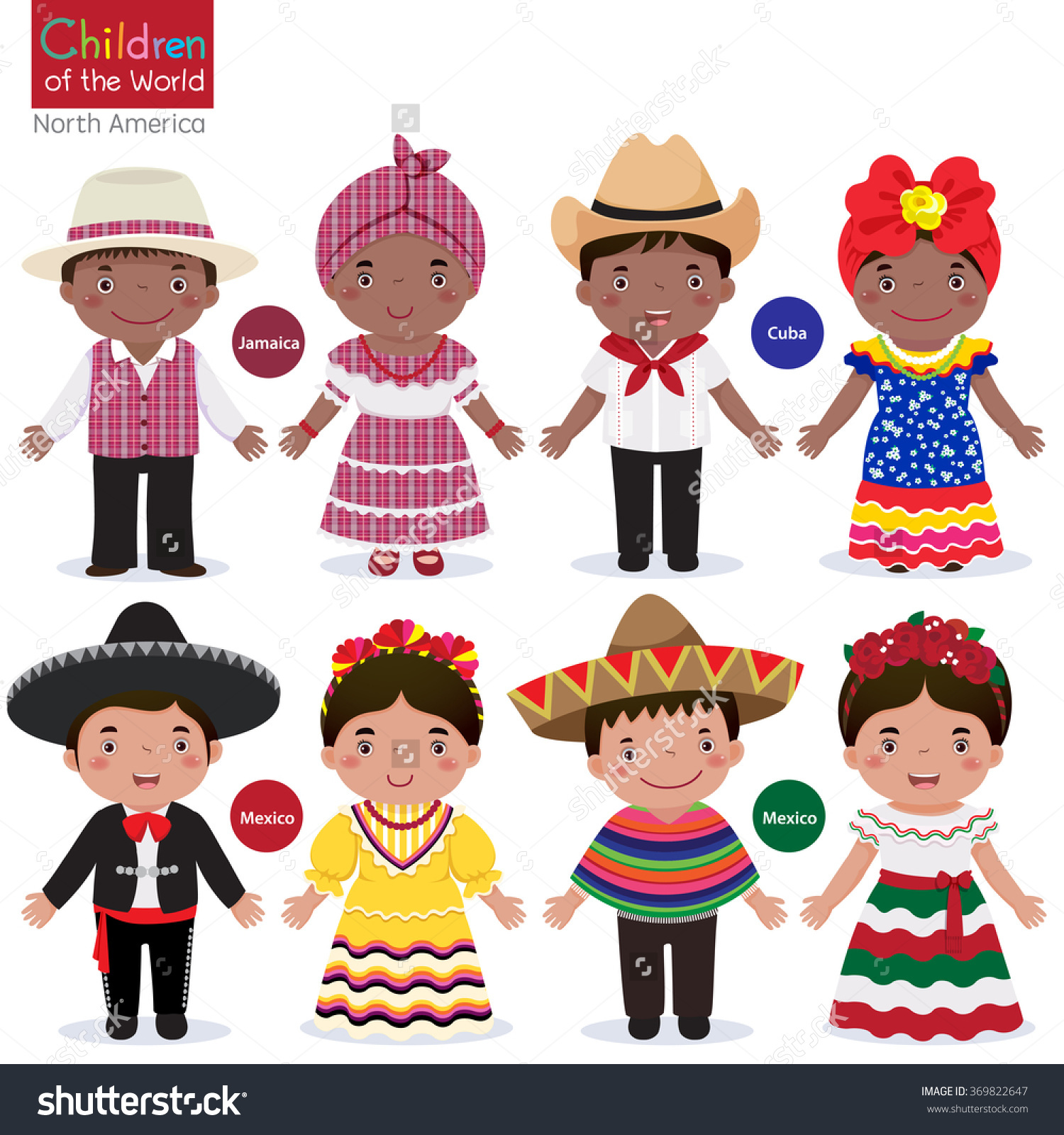 Mexican traditional dress clipart transparent stock Kids Different Traditional Costumes Jamaica Cuba Stock Vector ... transparent stock