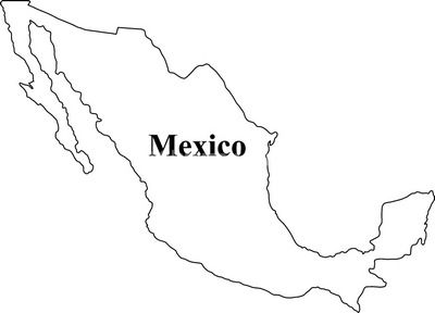 Mexico map clipart black