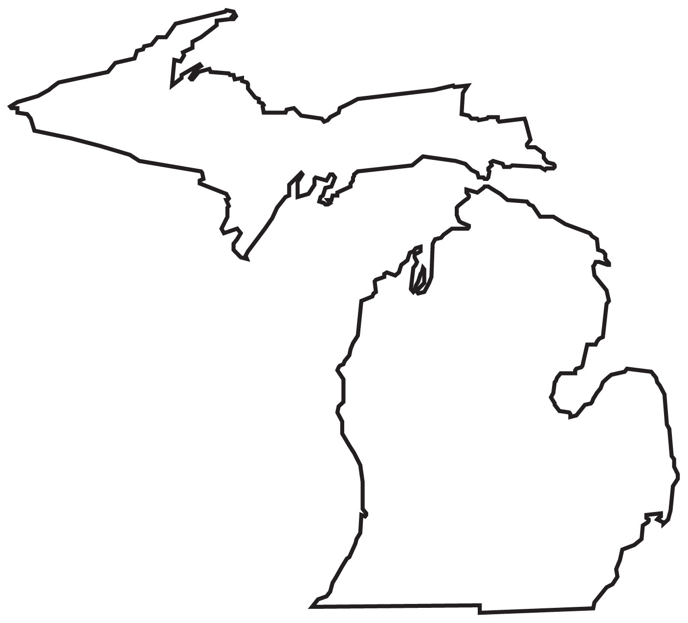 Michigan lower peninsula outline clipart