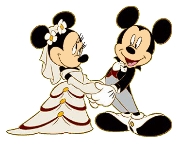 Mickey and minnie wedding clipart