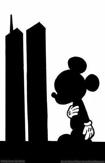 Mickey ear tower clipart black and white clip freeuse Mickey saluting the Twin Towers   Disney   Art   Disney ... clip freeuse