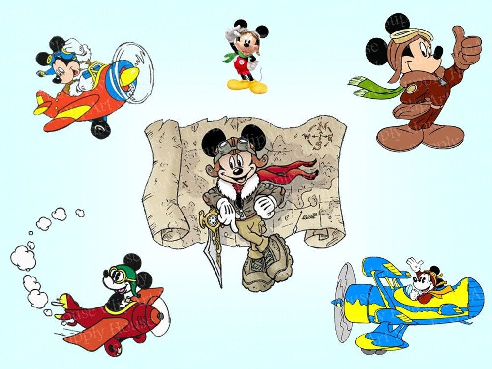 Mickey mouse airplane clipart clipart free download 6 Classic Mickey Mouse as an Airplane Pilot Clip Art ... clipart free download