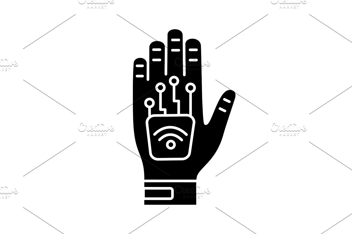 Microchip implant clipart vector royalty free download Human microchip implant glyph icon vector royalty free download