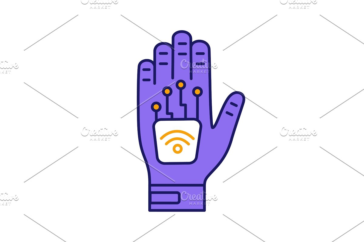 Microchip implant clipart picture transparent stock Human microchip implant color icon picture transparent stock