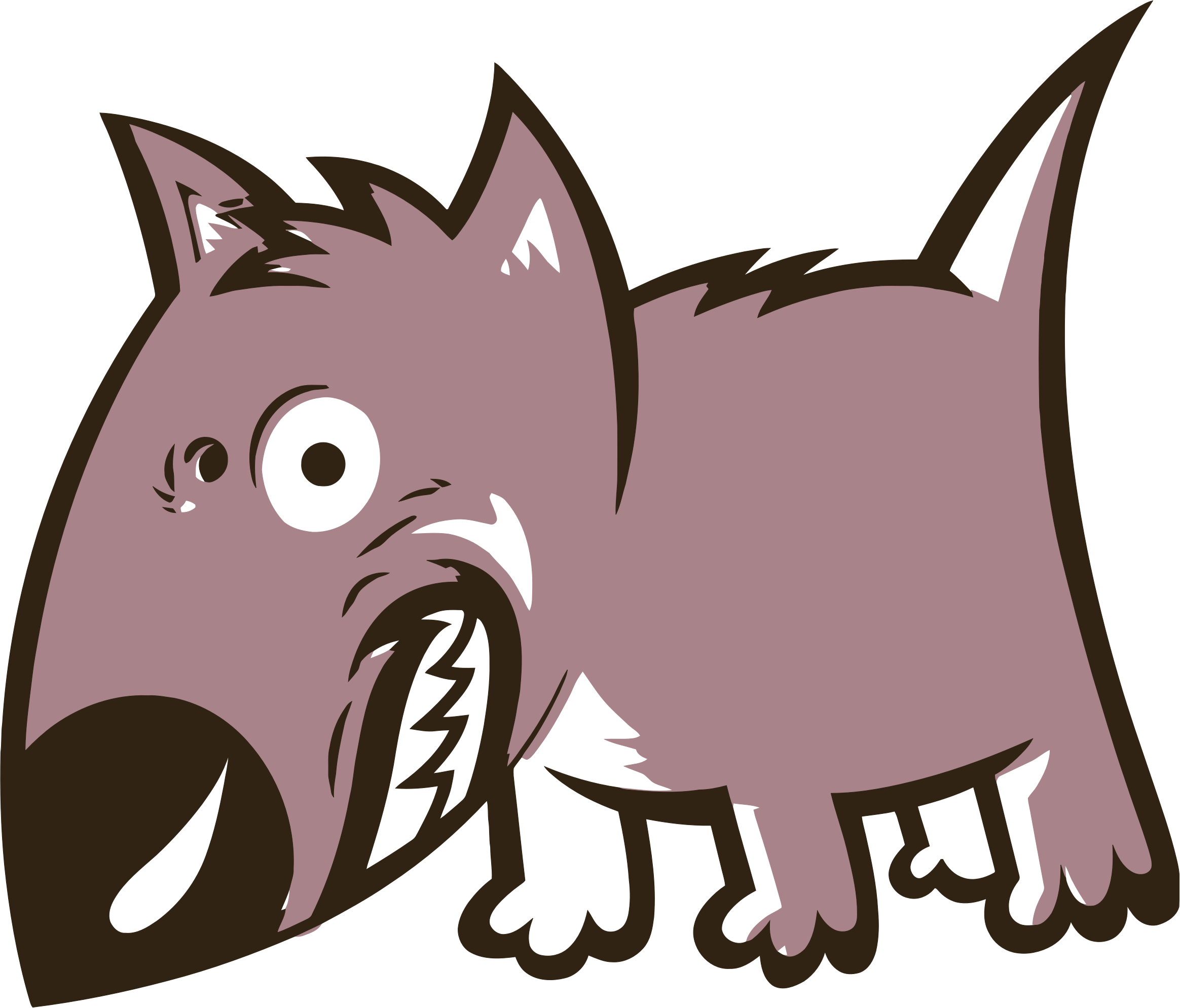 Clipart - Angry Growling Cartoon Dog clip art black and white download