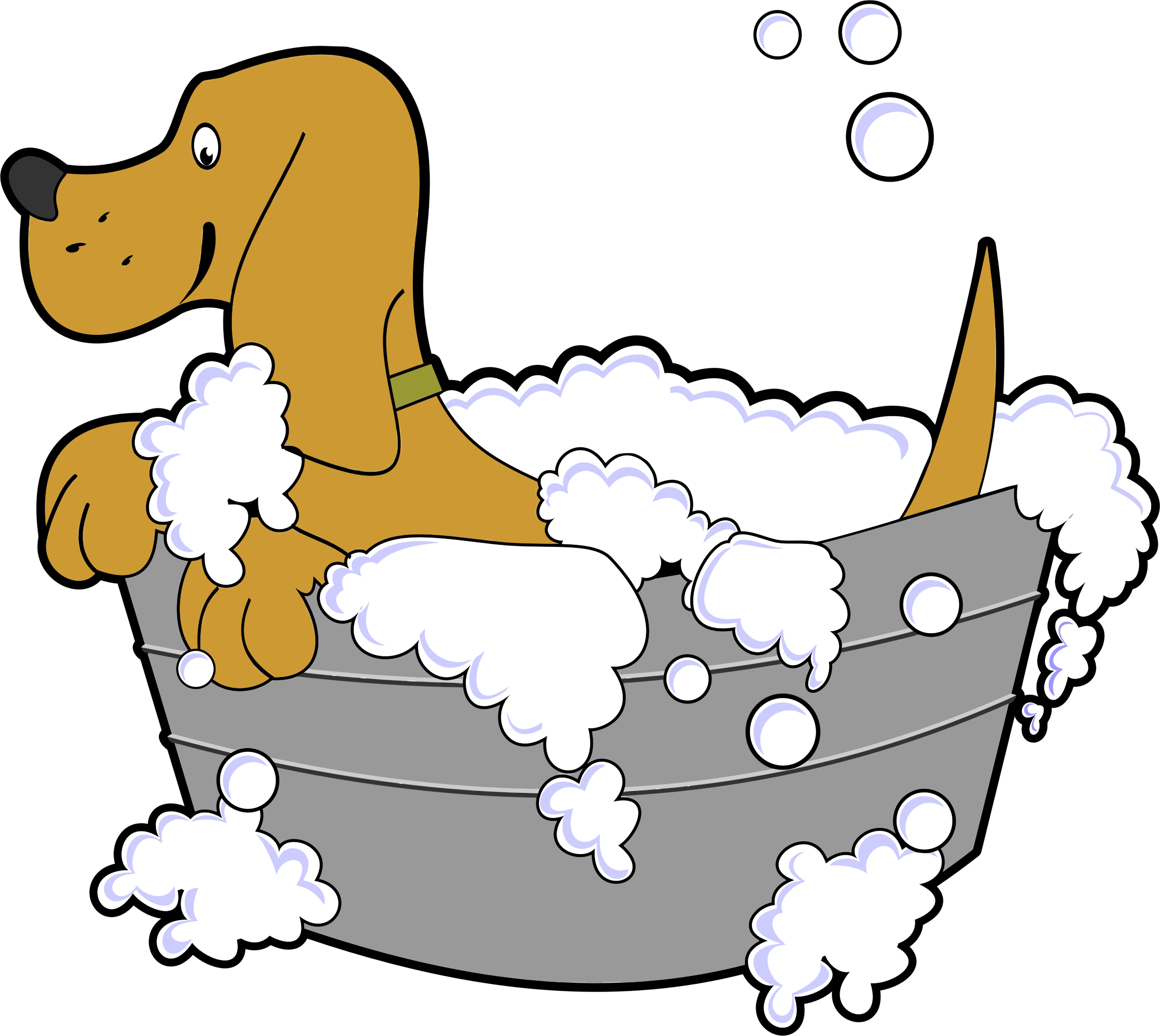 Washing dog clipart graphic royalty free download Clipart - Dog In Washing Tub graphic royalty free download