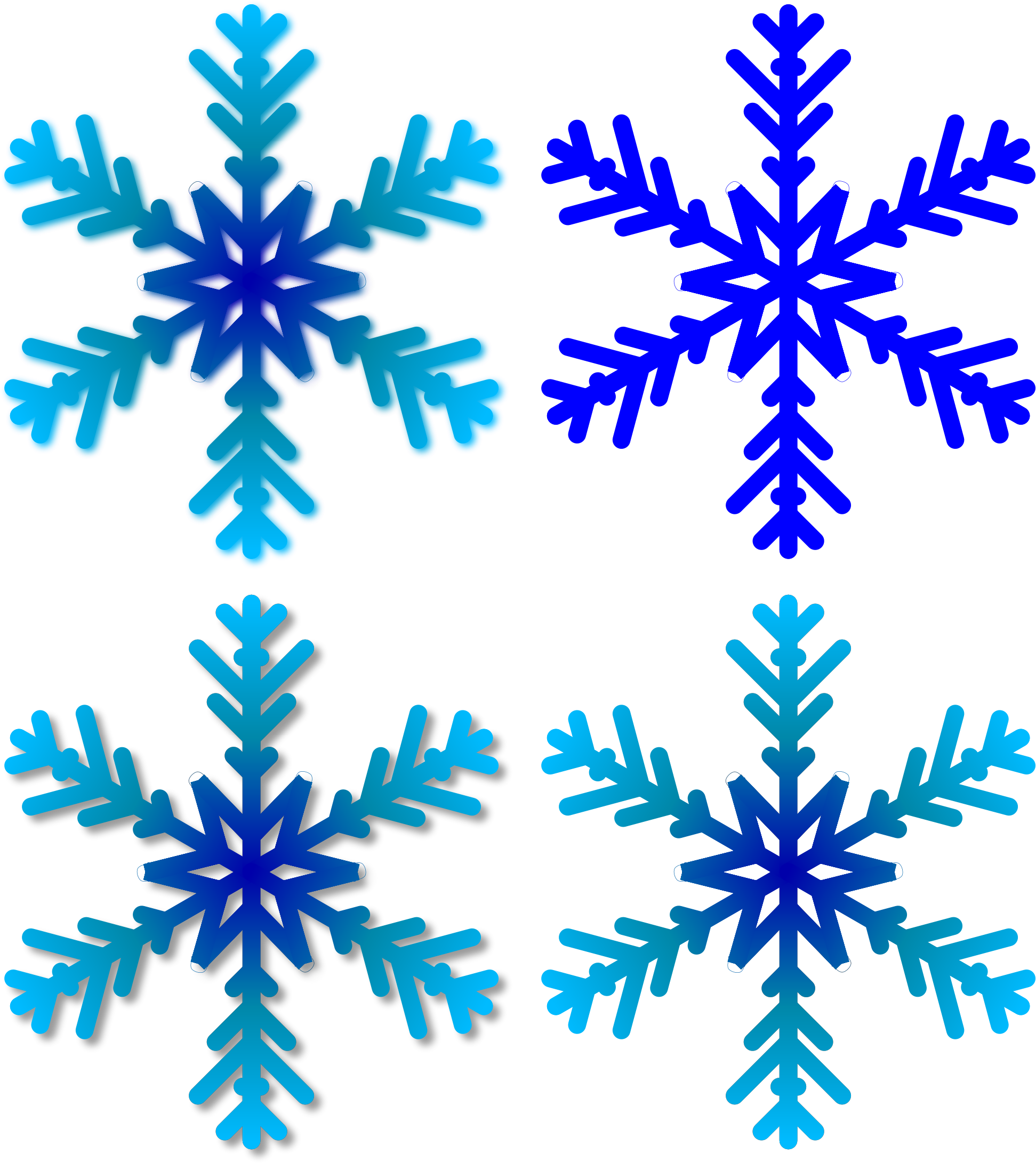 Snowflake clipart for microsoft office vector free Clipart - Four Snowflakes vector free