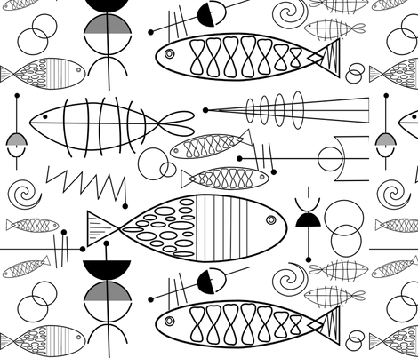 Mid century modern black gold border clipart svg free download Mid-Century Modern Fish Black and White wallpaper ... svg free download