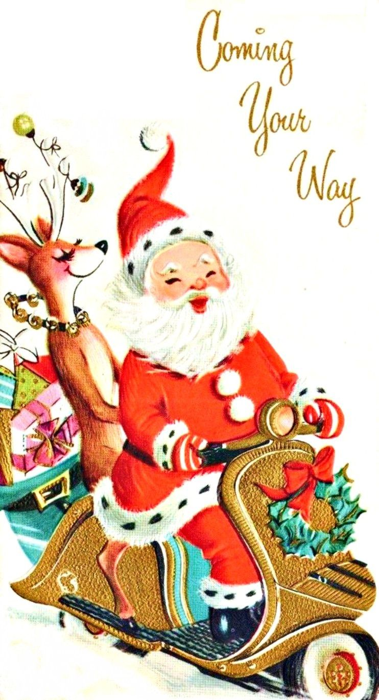Mid century modern christmas clipart jpg free vintage Christmas mid-century modern Santa and reindeer on ... jpg free