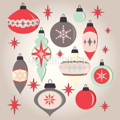 Mid century modern christmas clipart clipart free download Set of retro midcentury style holiday ornaments on a subtle ... clipart free download