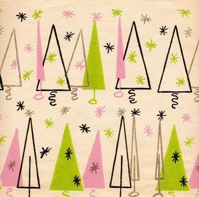 Mid century modern christmas clipart free Chartreuse and pink Mid Century Modern wrapping paper ... free