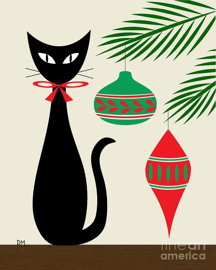 Mid century modern christmas clipart jpg black and white Holiday Cat On Cream jpg black and white