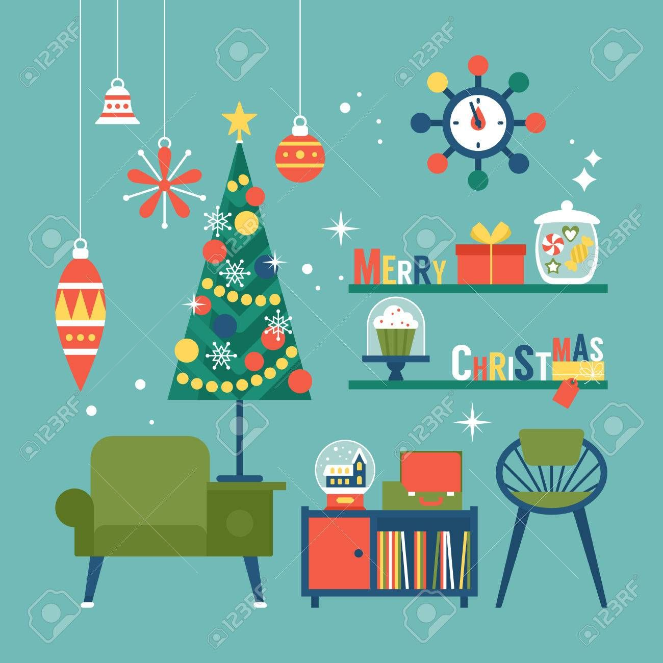 Mid century modern christmas clipart png black and white library Stock Vector | Mid-century Palooza | Christmas illustration ... png black and white library