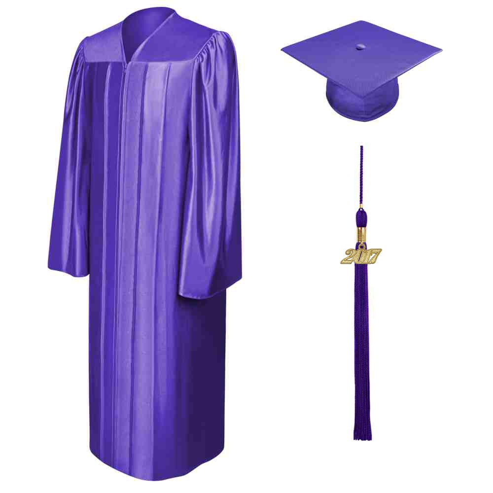 Middle school graduation cap and gown clipart vector transparent download Shiny Purple High School Cap, Gown & Tassel vector transparent download