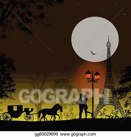 Midnight in paris clipart image royalty free Vector Clipart - Carriage and lovers at night in paris ... image royalty free