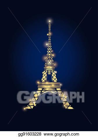 Midnight in paris clipart banner library download Vector Art - Vector glowing golden eiffel tower in paris ... banner library download