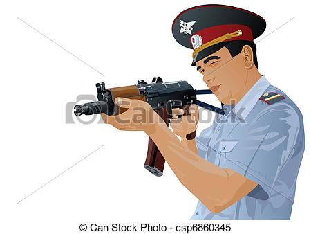 Military police clipart vector black and white Clipart Vector of A police officer with a gun - The illustration ... vector black and white