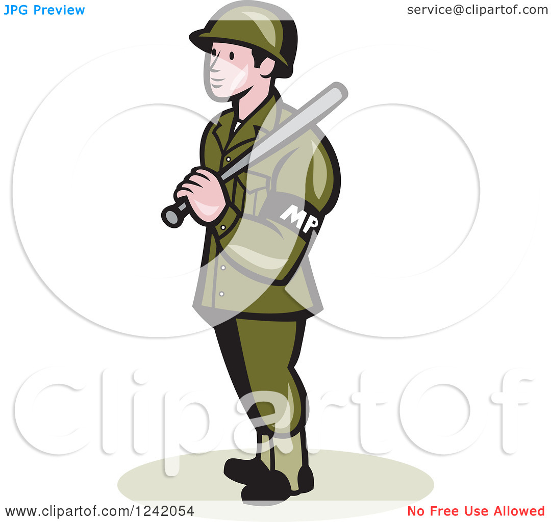 Military police clipart jpg royalty free Clipart of a Cartoon Military Police Officer with a Baton ... jpg royalty free