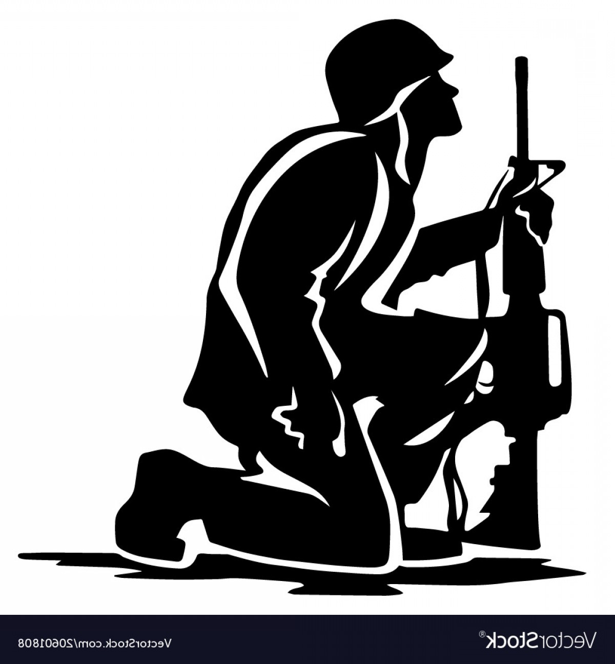 Military soldier kneeling with wings black and white clipart picture royalty free Military Soldier Kneeling Silhouette Vector | SOIDERGI picture royalty free