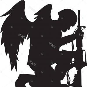 Military soldier kneeling with wings black and white clipart clip transparent stock Soldier Silhouette Vector On White | Savoyuptown clip transparent stock