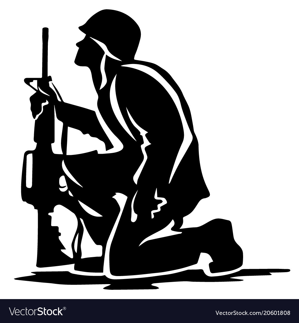 Military soldier kneeling with wings black and white clipart banner Military soldier kneeling silhouette banner