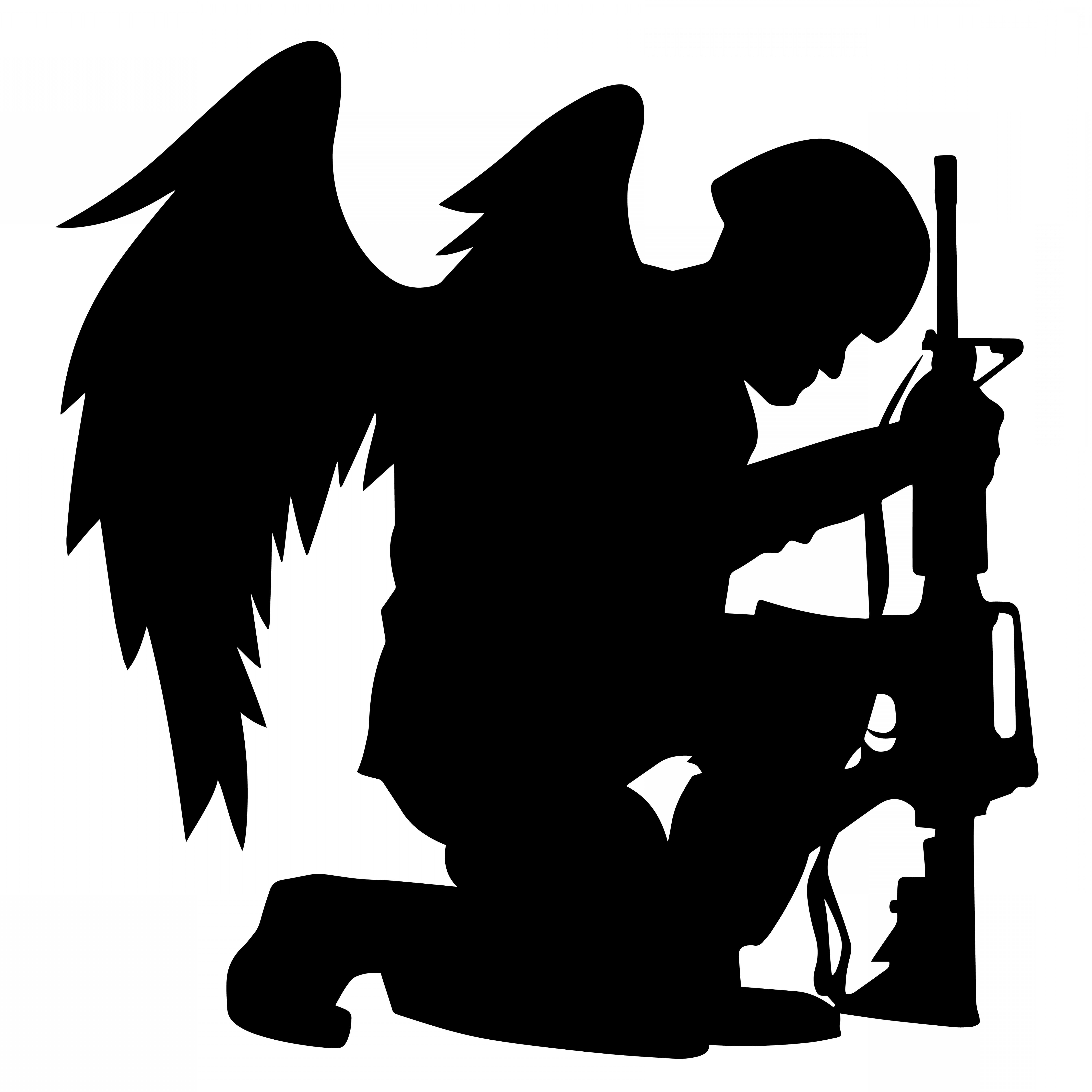 Military soldier kneeling with wings black and white clipart free download Military Angel Soldier With Wings Kneeling Silhouette Vector ... free download